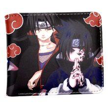 Kakashi sasuke folha preta aldeia konoha ninja cosplay anime carteira moeda bolso cartão de crédito id janela