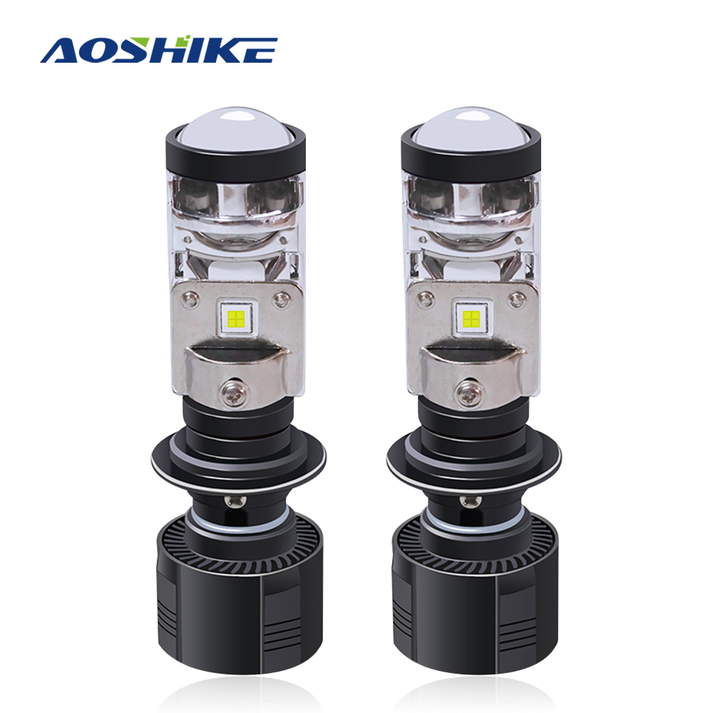 AOSHIKE 2PCS MIni LED Projector Lens 5500K Car LED Headlamp Car H4/H7 Headlight Replacement H4 Turn H7 Motorcycle Head Lighting