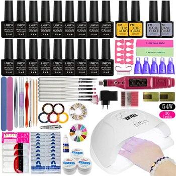 Nail Set UV LED Lamp Dryer With 18pcs Nail Gel Polish Kit Soak Off Manicure Tools Set Gel Nail Polish Kit For Nail Art Tools