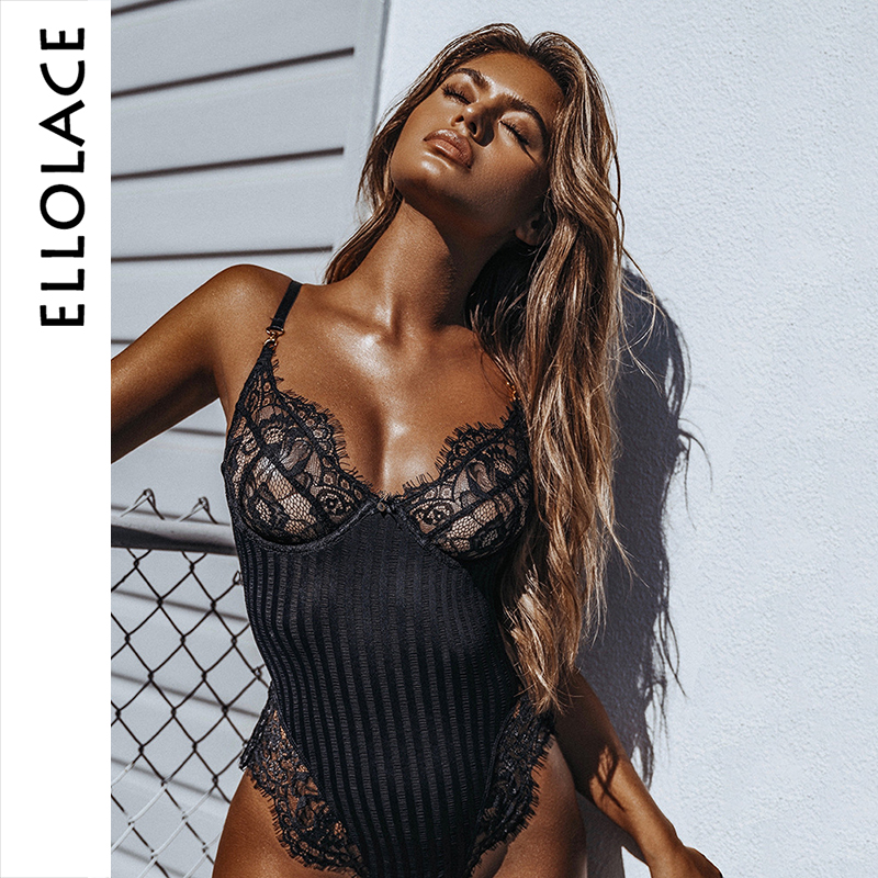 Ellolace Sexy Lace Striped Backless Bodysuit Women Mesh Summer Sexy Body Black Fashion Overalls For Women Body Feminino Rompers