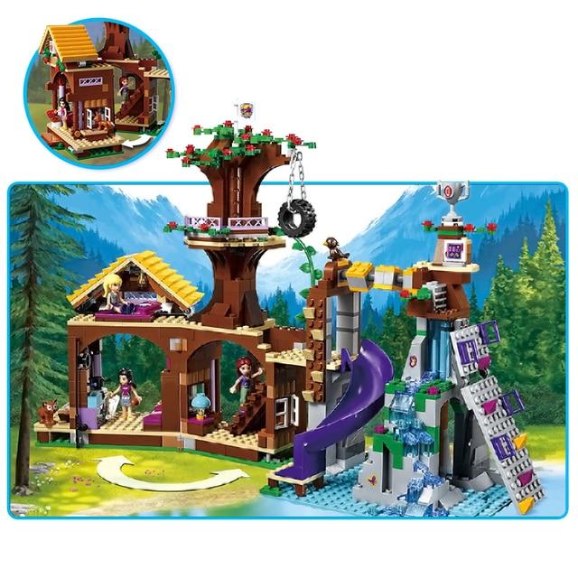739 pièces, blocs de construction de maisons dans les camps daventure et les arbres, compatibles avec la ville, pour fille, jouet éducatif