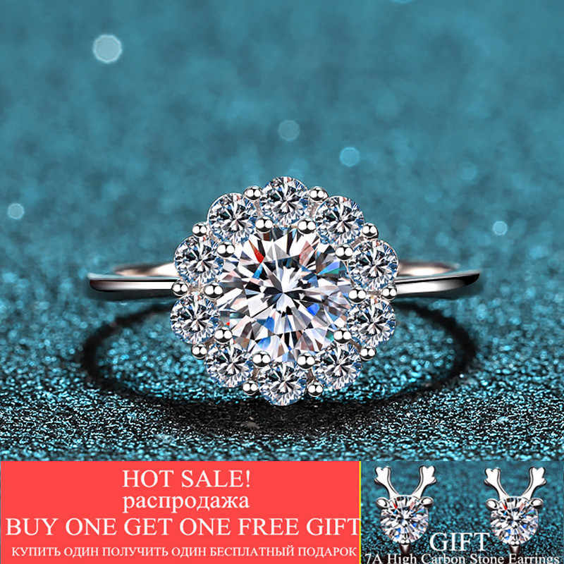Silber 925 Original 1 Carat D Farbe Moissanite Ring Brilliant Cut Diamant Test Vergangenheit VVS1 Prinzessin Bib Edelstein Hochzeit Ring geschenk