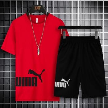 2021 Summer Men's T-shirt Set 2-piece Men's Sportswear Suit Basketball Sports Fitness  Printed Short Sleeve + Men's Suit 2