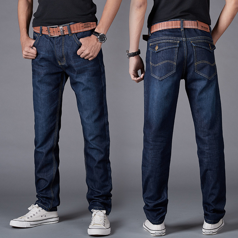 Winter Brushed And Thick MEN'S Jeans Warm Straight-Cut Business Jeans Men's Hot Selling 6699 Young And Middle-aged Men's Trouser