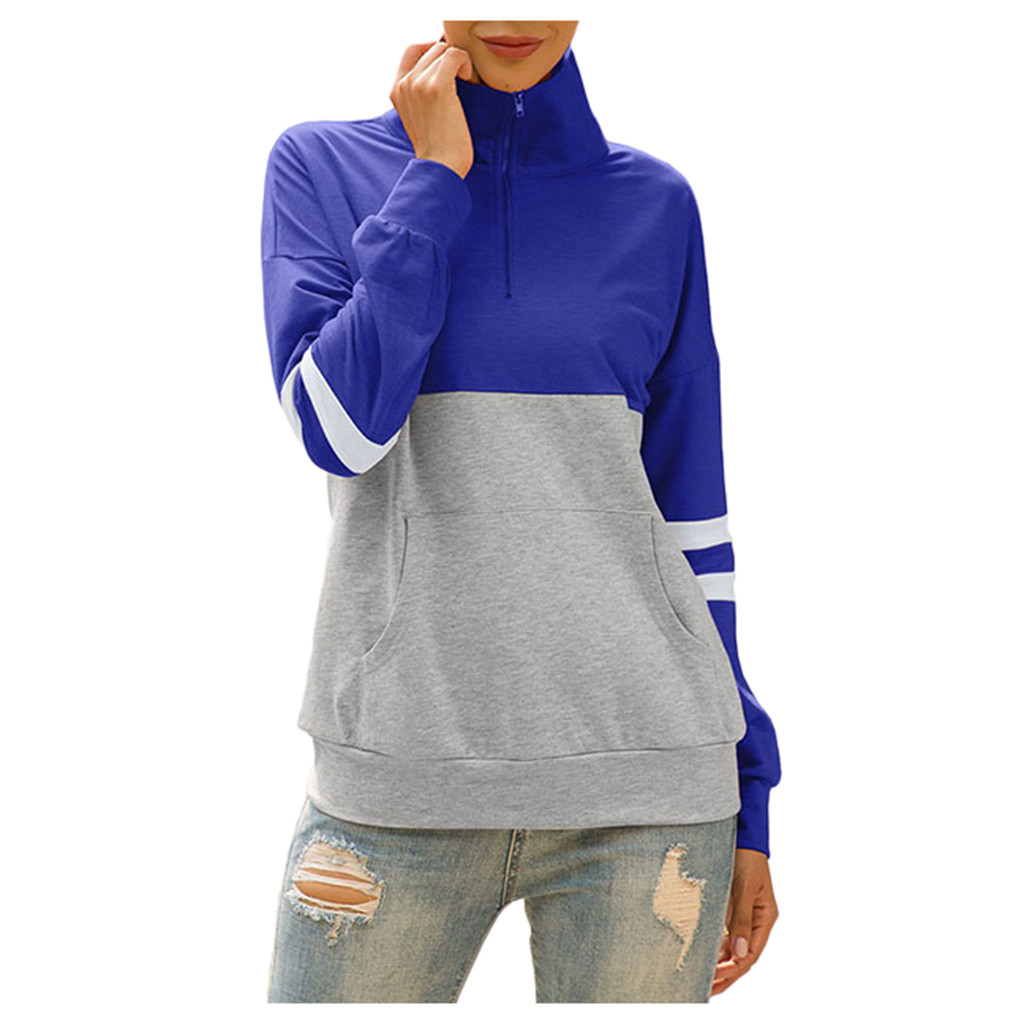 Sudaderas Mujer 2020 Harajuku Womens Casual Long Sleeve Splcing Color Sweatshirt Pullover Tops Blouse Coat Female Tracksuit Coat