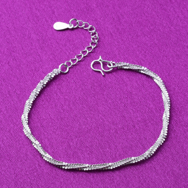 Thin 925 stamped silver plated Shiny Chains Bracelet For Women Girls Friend Jewelry Korean Fashion Trendy Jewelry 1