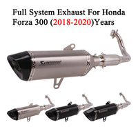 Full System Motorcycle Akrapovic Exhaust For Honda FORZA 300 forza300 2019 Modified Carbon Muffler DB Killer Front Mid Link Pipe