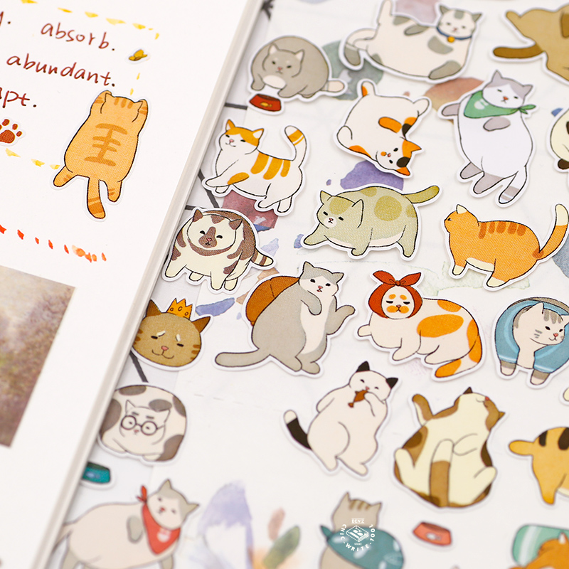 Soft Happy Cat Cute Cartoon Paper Sticker 90mm*175mm DIY Journal Diary Scrapbooking Decoration Supplies Children Gift