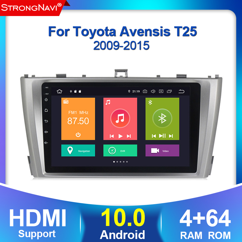 DSP IPS 4G 64G 8CORE Android 10.0 Car Navigation GPS Stereo For Toyota Avensis T25 2009-2015  Audio Radio No Dvd Player 4G Lte