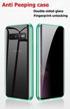Privacidade Metal Case Magnético Para Samsung Galaxy S8 S9 S10 Nota 8 9 10 Plus Anti Peeping Dupla Face Tampas de Vidro Temperado Completa