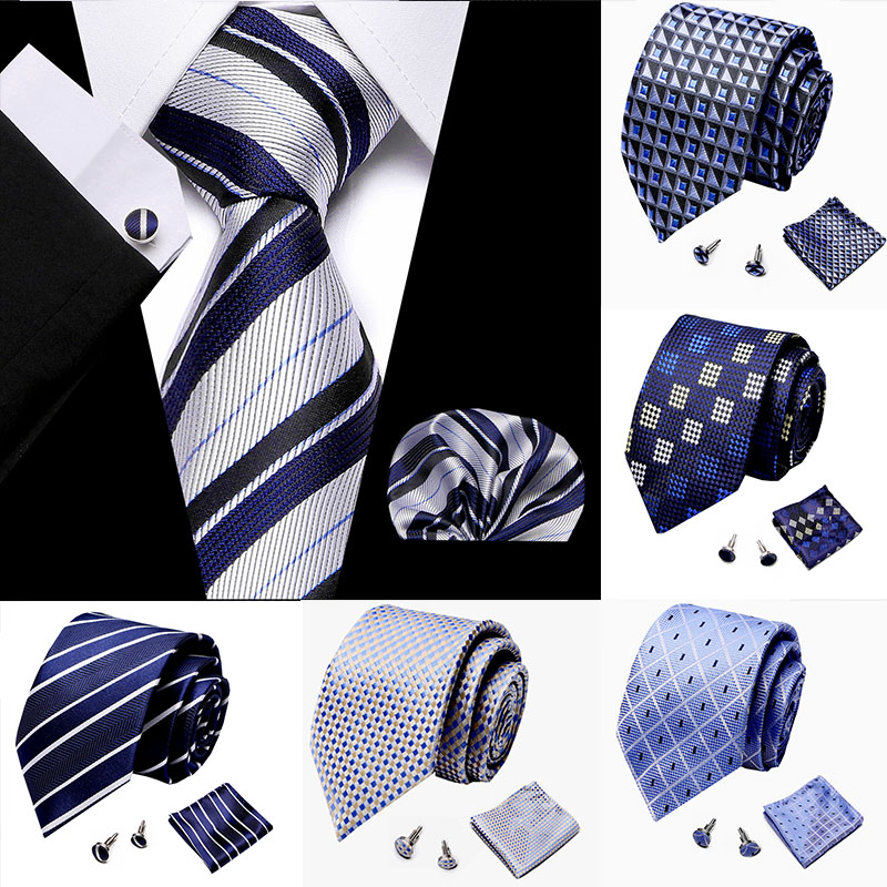 44 Style 7.5cm 100% Silk Handkerchief Cuffink Necktie Set Floral Prink Stripe Ties Cravat Formal Dress Accessories Wedding