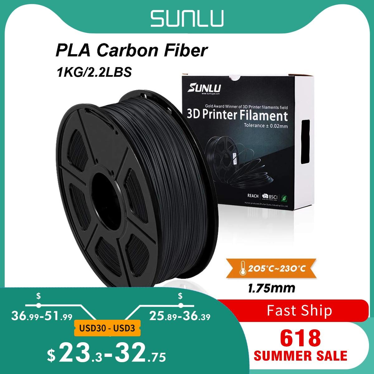 SUNLU PLA Carbon Fiber Премиум 3D-принтеры нити крайне жесткой углеродного волокна 1,75 мм +/-0,02 мм 1 кг (2,2 фунтов)