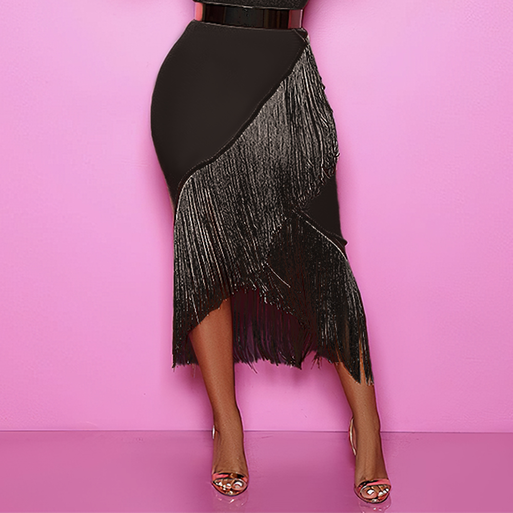 High Waist Black Tassel Skirts Irregular Elastic Bodycon Women Spring Summer African Fringe Modest Elegant Retro Jupes Falads