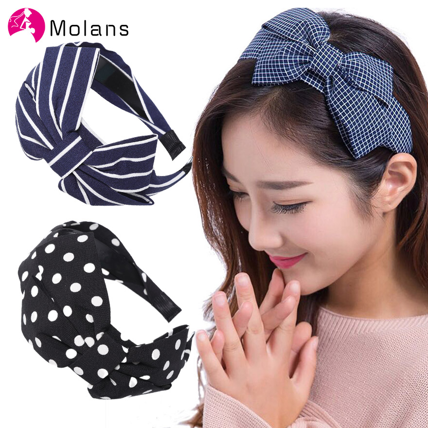 MOLANS Classic Plaid Fabric Bow Wide Headband Hair Accessories For Modern Women Hair Hoop Fashion Hair Bands Bezel Headwear