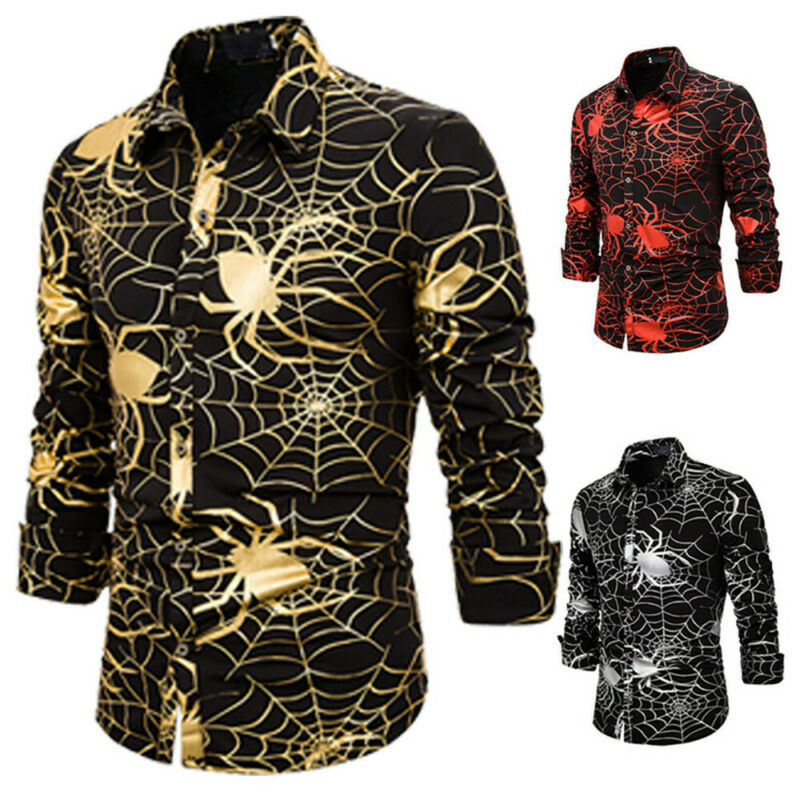 Halloween Spider Printed Men Shirt Ethnic Vintage Spider Net Printing Slim Long Sleeve Dress Shirt Men Tee Slim Fit Blouse Tops