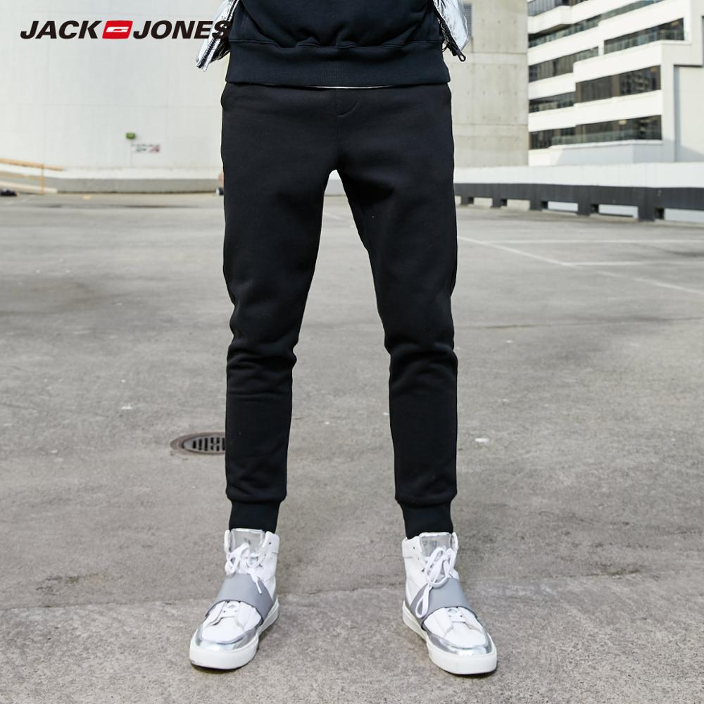 JackJones Men's Autumn Winter Inner Fleeced Stretch Jogger Pants Slim Fit Sports Sweatpants Men's Fitness Trousers 219314556