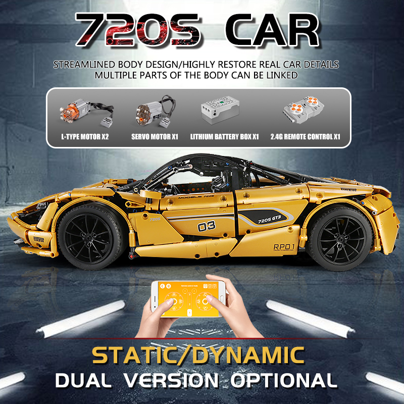 MOULD KING 13145 APP Motor High-Tech Car The MOC 720S Speed Race Car Model 20087 Building Block