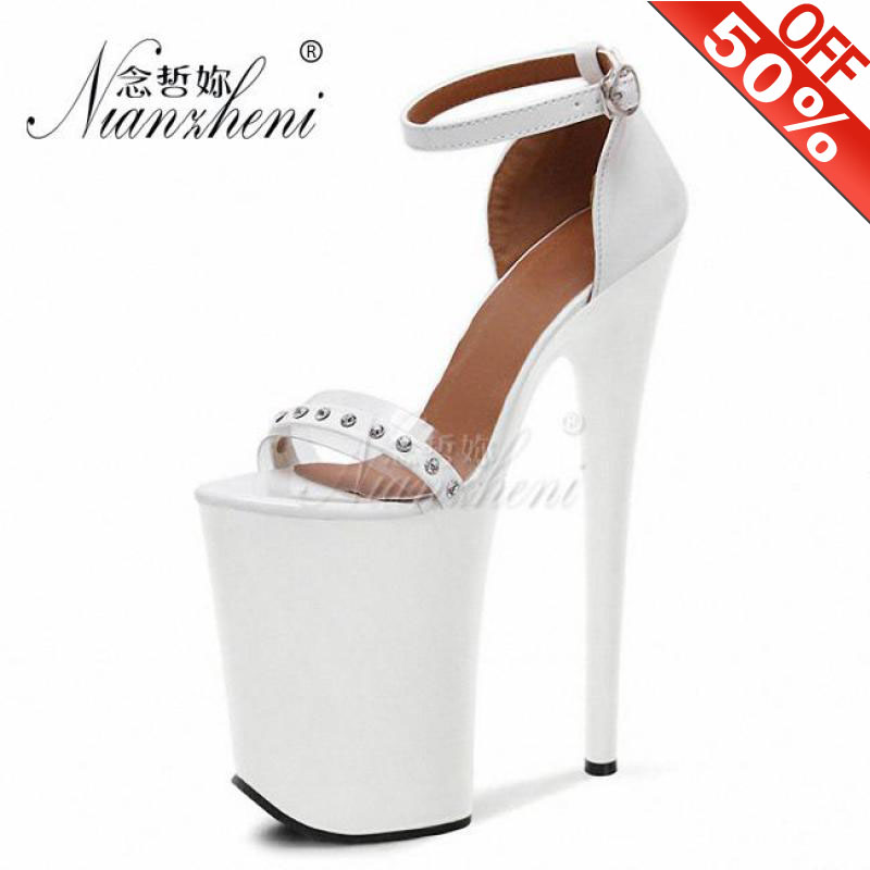 """8/""""//20CM Extreme High Heels Platform Ankle Boots Rivets Buckle Dancing Shoes new"""
