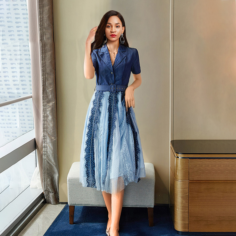 Sisjuly Retro Elegant Korean Style Summer Sexy Party Women Dresses Vintage Office Lady Notched Lapel Button Lace Female Dress