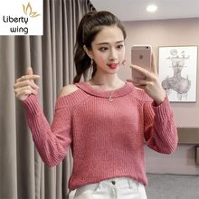 Autumn Off Shoulder Knitting Ladies Sweater O-Neck Harajuku High Elasticity Womens Pullover Full Sleeve Loose Fit Female Jumper(China)