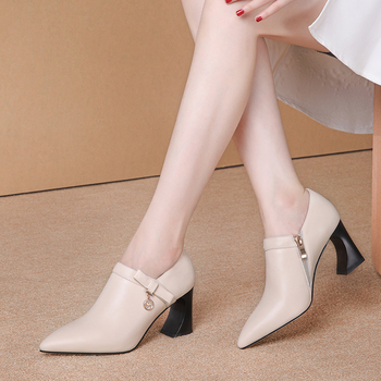 Women  Fashion Women Pumps Spring Summer Prom High Heeled Shoes Woman Genuine Leather Point Toe Sexy Female Pumps 2020
