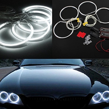 1 Set Super Bright COB LED Angel Eyes Headlight 131MM Car Motorcycle DRL Light Bulb Lamp For BMW E46 E36 E39 image