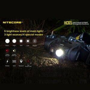 Image 5 - Nitecore faro HC65 Original de 1000LM para interior, triple salida, resistente al agua, con batería de 3400mah y 18650