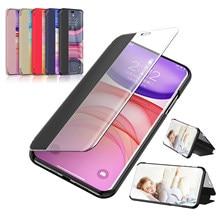 2020 Nieuwe Clear View Smart Spiegel Flip Telefoon Case Voor Huawei Nova 5 5i 5T Pro 3D Stand Leather back Cover Nova5 E I T Z Nova5T 5Z