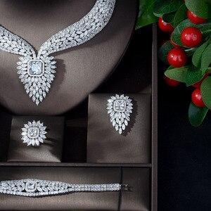 Image 3 - HIBRIDE חדש לבן צבע אופנה למעלה איכות חתונת תכשיטי סטי AAA CZ גיאומטרי כלה עגילי שרשרת סטי N 1141