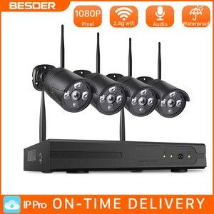 BESDER-sistema de cámaras de seguridad para el hogar, NVR, 2MP, inalámbrico, HD, 4 canales, vídeo CCTV, Kit de vigilancia, NVR, Wifi
