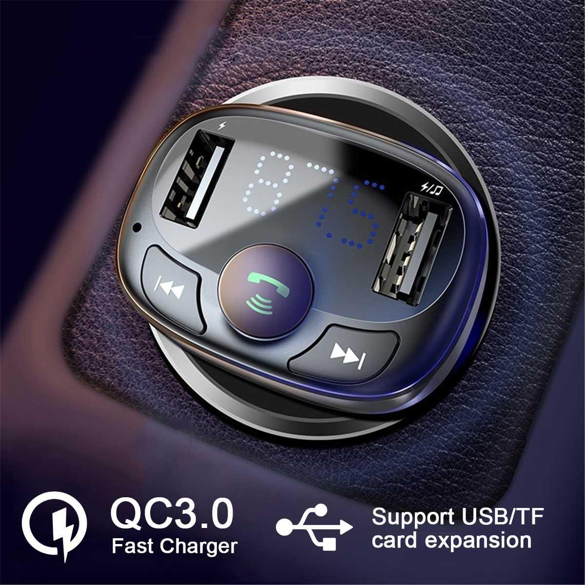 Dual USB QC3.0 Fast Charging Wireless Car Charger Digital Display Handsfree bluetooth Car Kit Car Aux bluetooth Audio Receiver