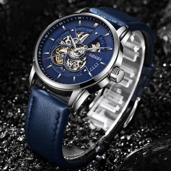 OUBAOER Mens Watches 2021 Mechanical Automatic Top Brand Luxury Tourbillon Self Winding Leather Sport  Wristwatch 6