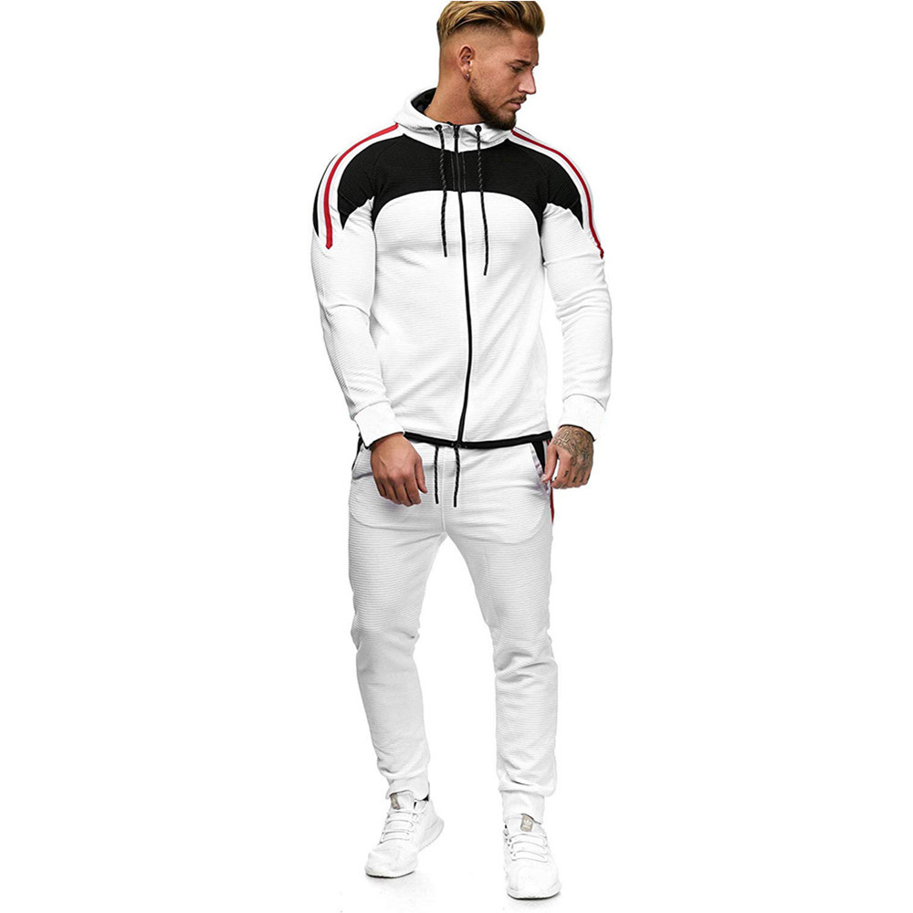 2019 Autumn And Winter New Large Size Men's Fine Stripe Color Matching Sports And Leisure Suit