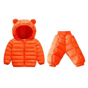 Image 5 - Комплекты зимней одежды для детей комплект из 2 предметов: куртка с капюшоном + штаны теплая куртка с хлопковой подкладкой для маленьких девочек Детские Зимние костюмы для мальчиков, От 1 до 5 лет