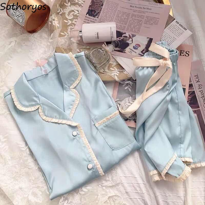 Pajama Sets Women Solid Turn-down Collar Bow Summer Single Breast Womens Homewear Fashion Simple Soft Nightwear Chic Pyjama Home