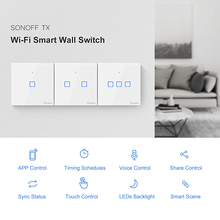 SONOFF WIFI Wall Switch 1/2/3 Gang Intelligent Switch TX Series 433Mhz RF Remote Controlled Wifi Switch Intelligent Home Switch