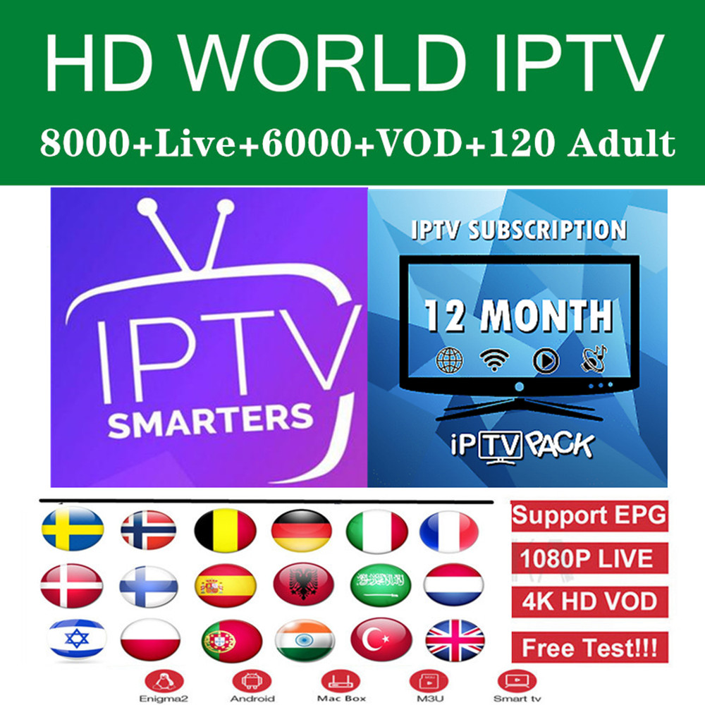 Iptv Subscription 8000HD Live Netherlands France United Kingdom Nordic Android Tv Box Europe Norway Iptv Dutch M3u Smart Tv Box