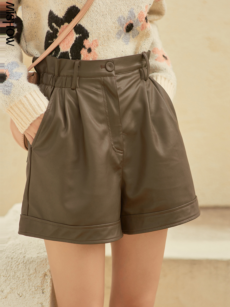 Winter Shorts Faux-Leather MISHOW PU Female High-Waist Wide Women Solid-Trousers Elegant