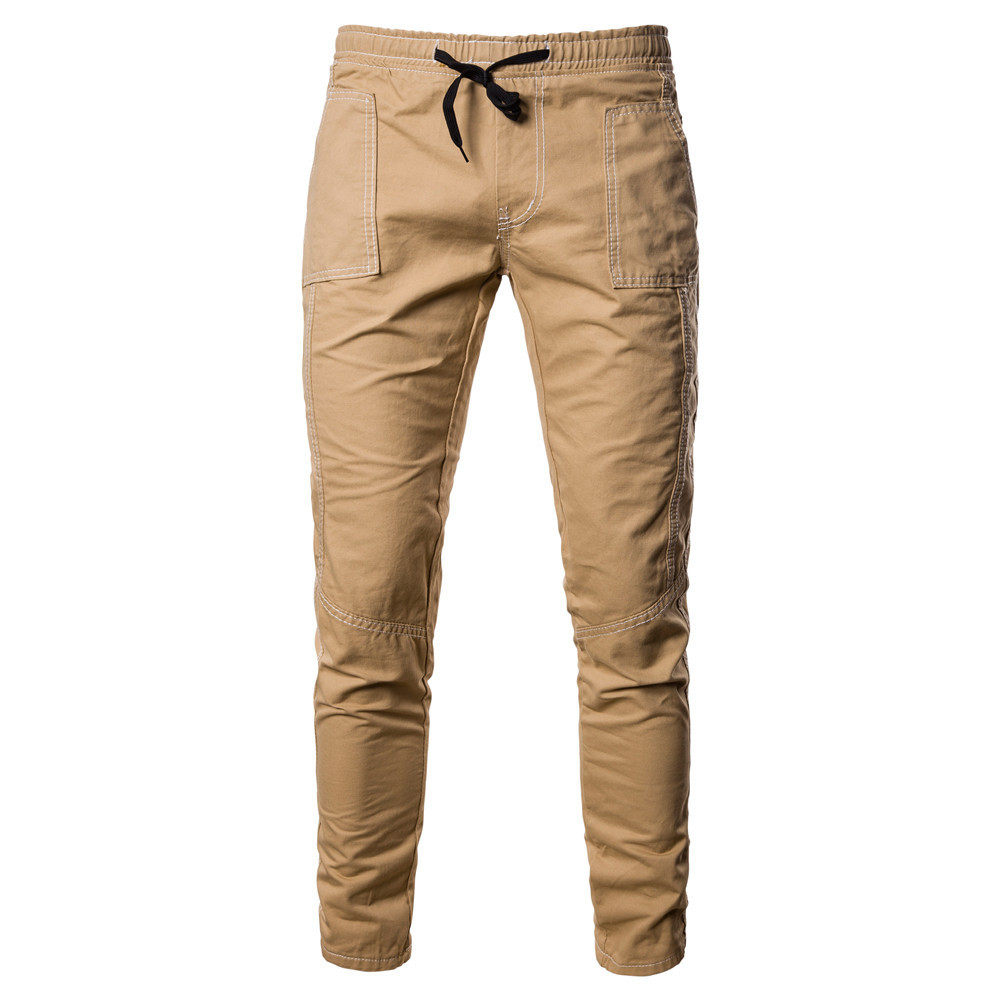 MEN'S Jeans Men Elasticity Solid Color With Drawstring Casual Trousers Men's Recruit Agents