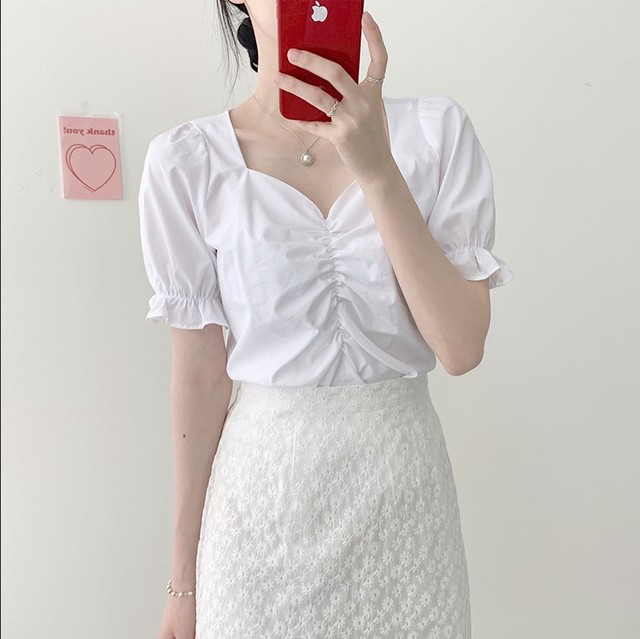 2021 New Girls Summer Blouse Women Shirt White Short Sleeves Tops High Waist Bud Silk Embroidery A Line Skirts Two Piece Suits 2