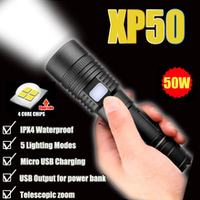 60000LM Flashlight XHP50 LED Flashlight USB Rechargeable Torch Zoom Flashlight