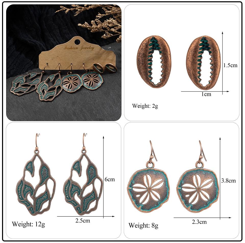 Bohemia Sea Shells Drop Earrings for Women Sets Vintage Ethnic Big Round Stones Wooden Tassel Fringe Earring Women's Set Jewelry (1)