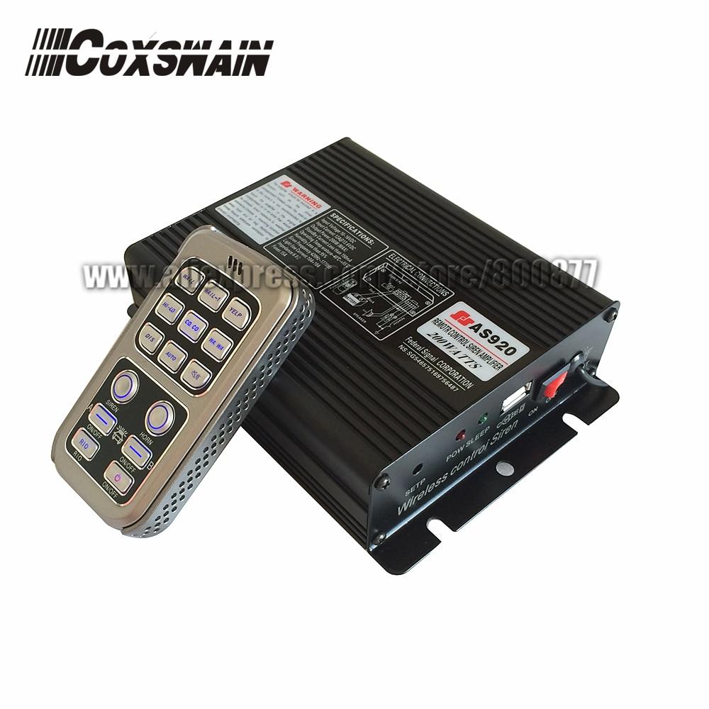 AS920 Coxswain 200W car wireless emergency siren Car Warning Alarm Police Siren amplifier, 20 tones, 2 light switches, DC12V