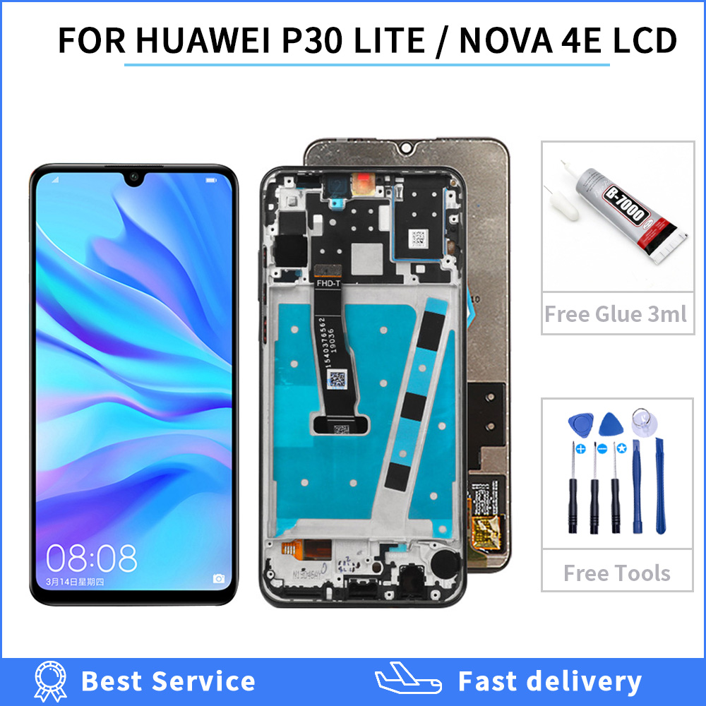 100% tested For Huawei <font><b>P30</b></font> Lite Nova 4e <font><b>LCD</b></font> Display + Touch Screen Digitizer Pane Assembly For Huawei MAR-L01 MAR-LX1 MAR-LX2 image