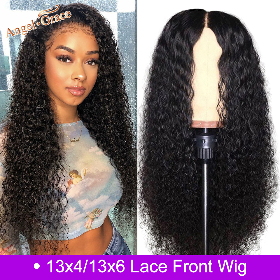 Angel Grace Mongolian Kinky Curly Remy Human Hair Wig 13*4 /13*6 Glueless Lace Front Human Hair Wigs Pre Plucked With Baby Hair