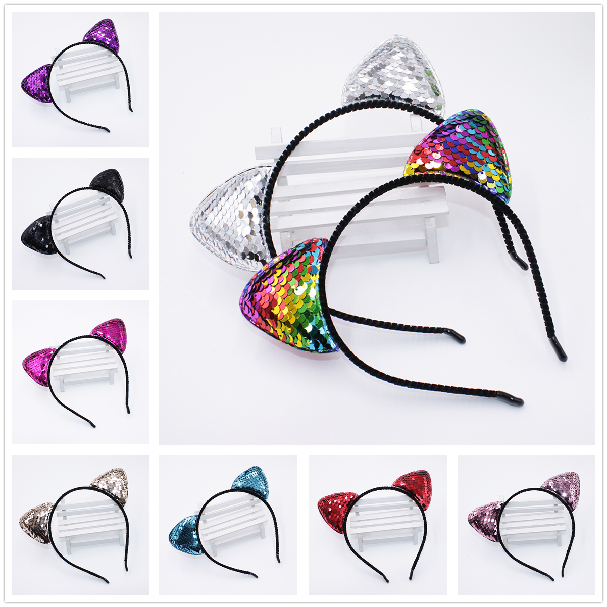 10 Colors Rainbow Can flip Sequins Shining Cat Ear Girl Hairband Cat Ears Kid Hair Accessories For Women Birthday Party Gift