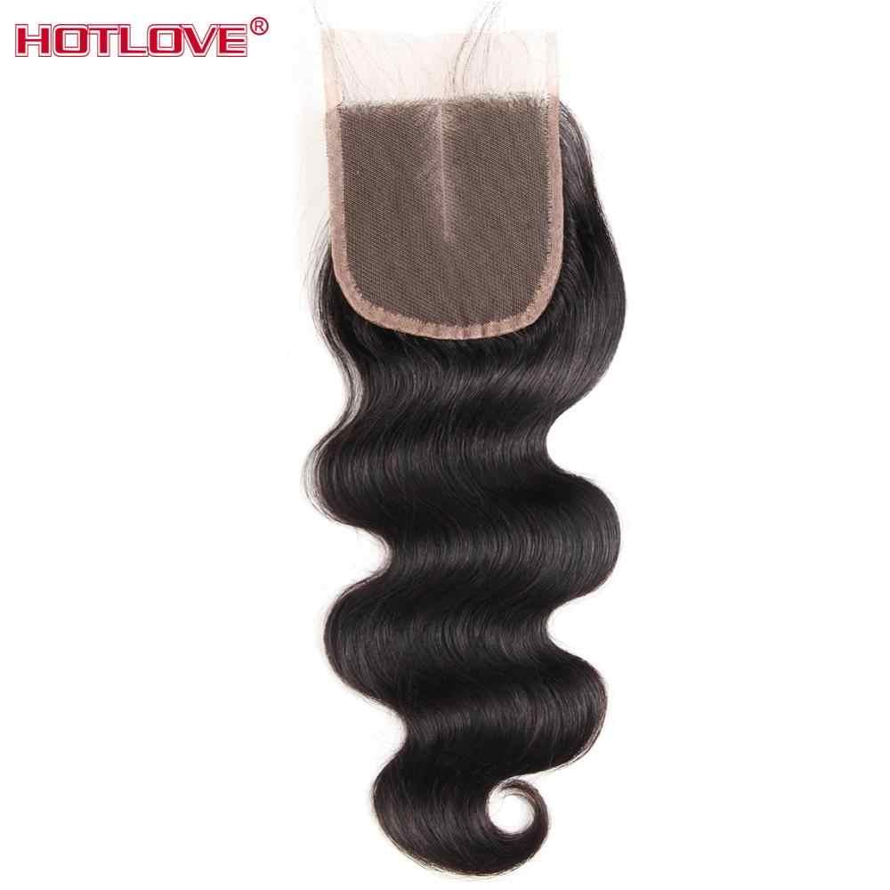 Mechones de pelo brasileño HOTLOVE con cierre 100% 4 mechones de cabello humano con 4X4 Cierre de encaje suizo