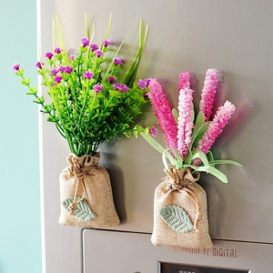 Hipster Linen Bag Artificial Flower Magnetic Stickers Artificial Flower Refrigerator Magnet for Kitchen Decorations