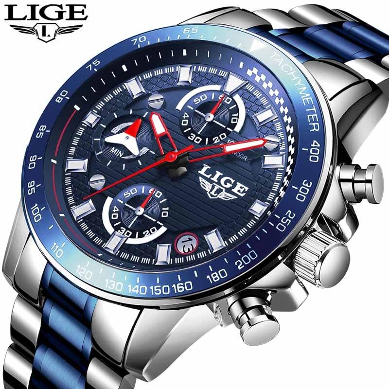 LIGE Men Watch Top Luxury Brand Big Dial Blue Quartz Men Watches Chronograph Sport Wristwatch Men Stainless Steel Date Clock+Box