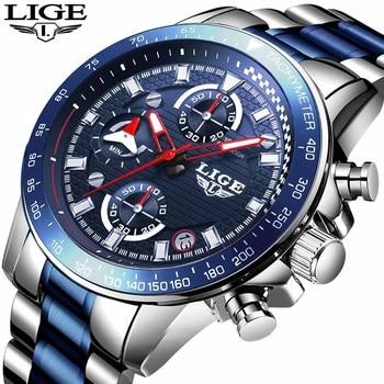 LIGE Men Watch Top Luxury Brand Big Dial Blue Quartz Men Watches Chronograph Sport Wristwatch Men Stainless Steel Date Clock+Box цена 2017